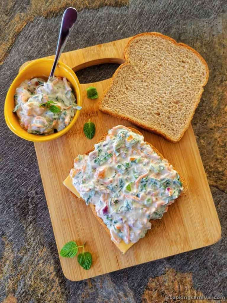 applying yogurt sandwich mixture on bread