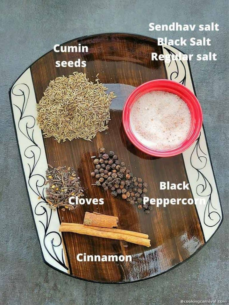 Chaas masala ingredients in a plate