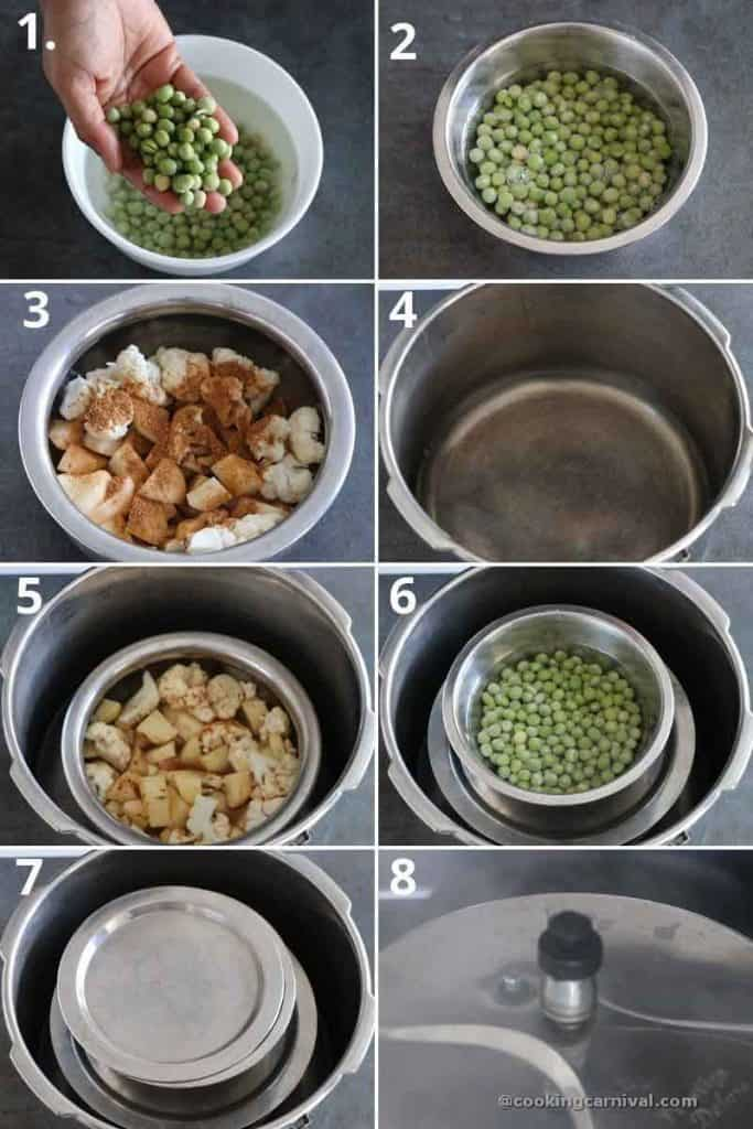 collage of cooking vegetables and green peas in pressure cooker