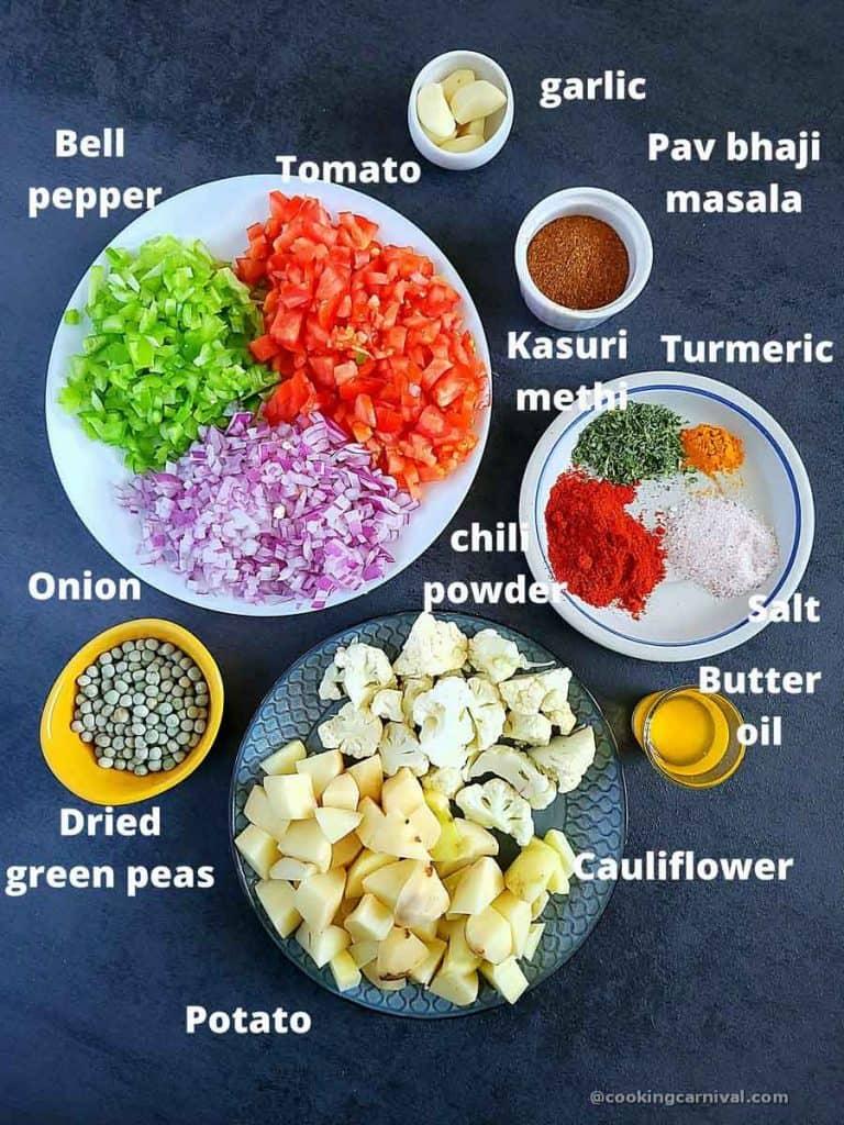 Pre measured ingredients for pav bhaji