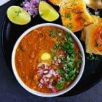 Pav bhaji in a bowl, ladi pav on side