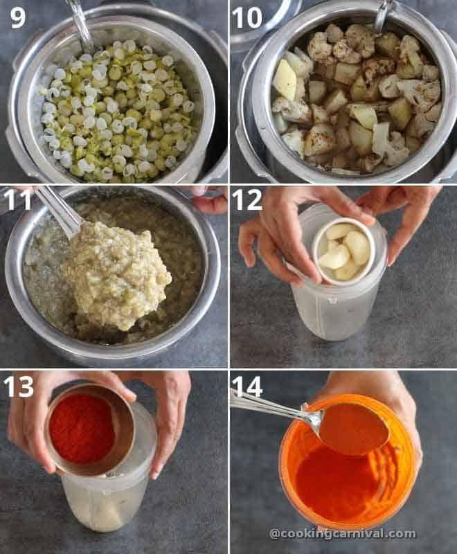 collage of making garlic chutney