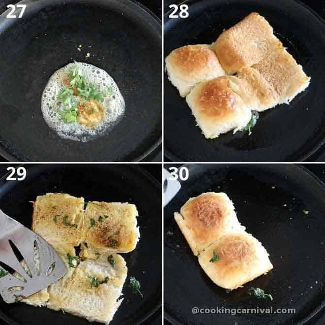 toasting the ladi pav in butter, masala and cilantro