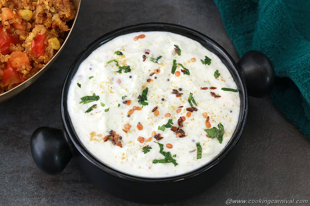 Cucumber raita cookingcarnival a raita is generally made to tone the heat of the spicy foods yogurt and cucumbers are cooling it help to balance the heat from spicy food forumfinder Images