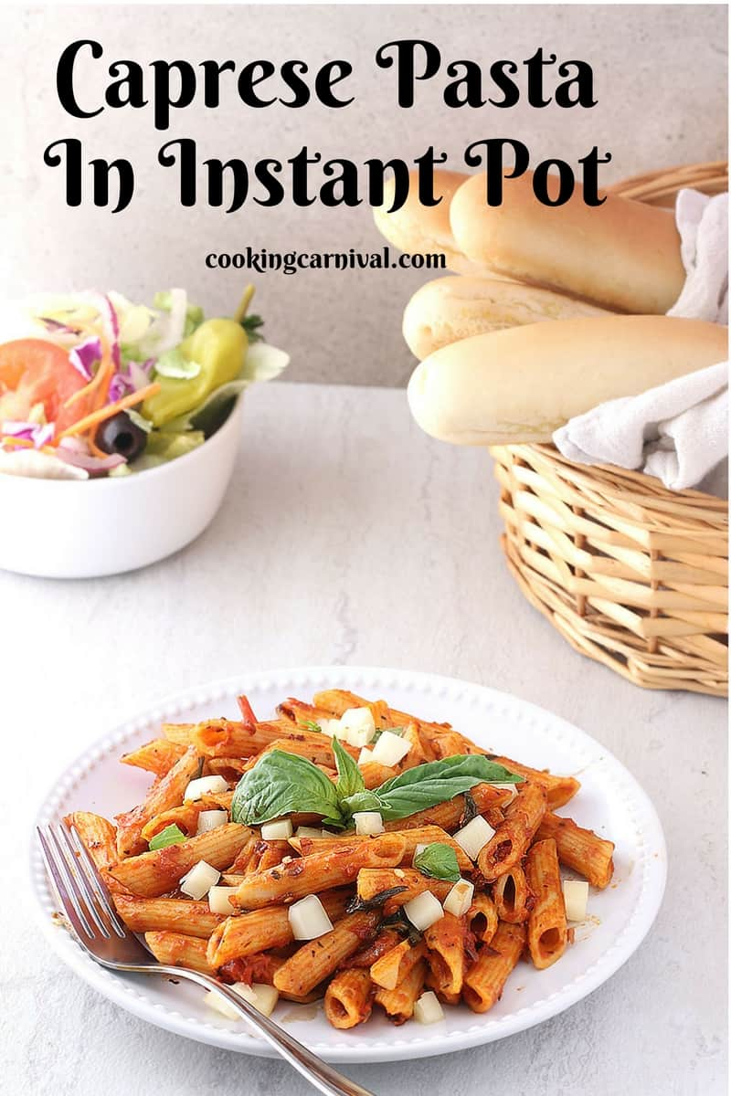 This Caprese Pasta in Instant pot is all about the ingredients cooked in the same pot, the quickest, scrumptious pasta meal you will ever make. This dish takes all the amazing flavors of the Caprese salad and combines them in a delicious, 10 to 15 minutes meal. This pasta dish has all the traditional ingredients - Tomatoes, basil, Mozzarella, Olive oil and Balsamic. And the very best part of this dish - Its all made in one pot, Instant pot. Notes - 1. I use Penne pasta for this one pot meal but you can use any type of pasta you'd like. 2. You can add vegetable broth instead of water. 3. Although fresh mozzarella is a must in a Caprese psta, you could substitute shreadded mozzarella or any cheese. 4. I didn't have the grape tomatoes, so I used Roma tomatoes. Use grape tomatoes for better taste. 5. I haven't added any onion or garlic in this recipe because I used pasta sauce which already had the garlic and onions in it. 6. If you dont have fresh basil, you can use dried one too. Use 1/4 tsp. Looking for more Instant pot recipes?? Quinoa Pulao Quinoa chili I am a Caprese lover. :) I do make many dishes using caprese ingredients like Caprese Grilled Sandwich, Caprese Pasta, Caprese on toast and many more... Do give this a try, i'm sure you'll love it. :) And yes one more thing, you can make this not just in Instant pot, but also in pressure cooker and pan. How?? Keep reading this post. I am going to share all the method for ya. :) Ingredients Pasta - 225 grams Pasta sauce - 1 and 1/2 cup Basil leaves - 5 to 6 + For garnishing Olive oil - 2 tbsp Salt to taste Chili flakes - 1 tsp Italian seasoning - 1/2 tsp Mozzarella cheese Chopped tomatoes - 2 medium Water 2 cups Direction How to make Caprese Pasta in Instant Pot?? 1. Press the saute button. Heat oil in a pot. 2. Add all the ingredients one by one except Mozzarella cheese and balsamic vinegar. 3. Mix well 4. Turn off the saute button. 5. Set the Instant Pot to Manual o for 5 minutes on high pressure with pressure valv