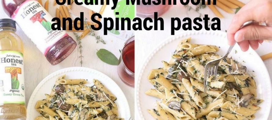 One Pot Creamy Mushroom And Spinach Pasta