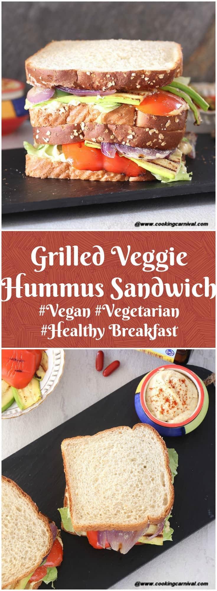 Grilled Veggie Hummus Sandwich