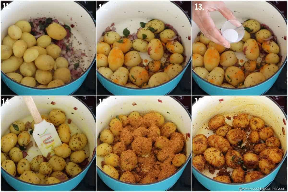 Adding salt, turmeric powder and chettinad masala in baby potatoes,