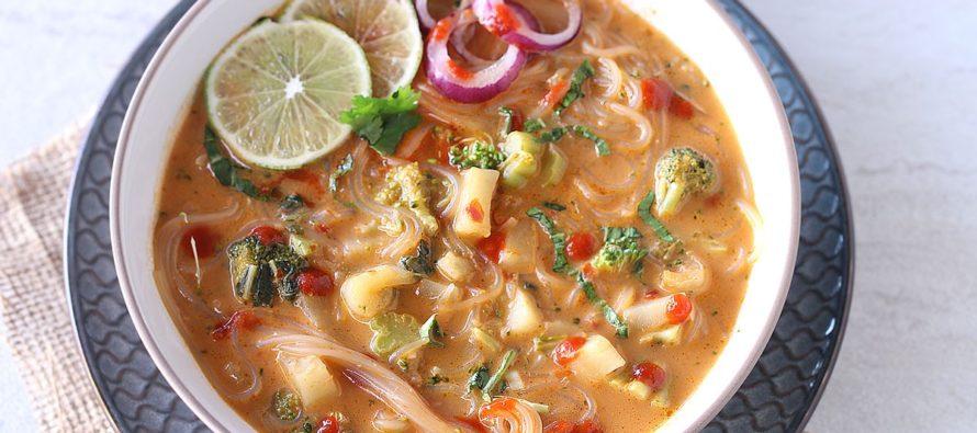 Vegetable Thai Curry Noodle Soup