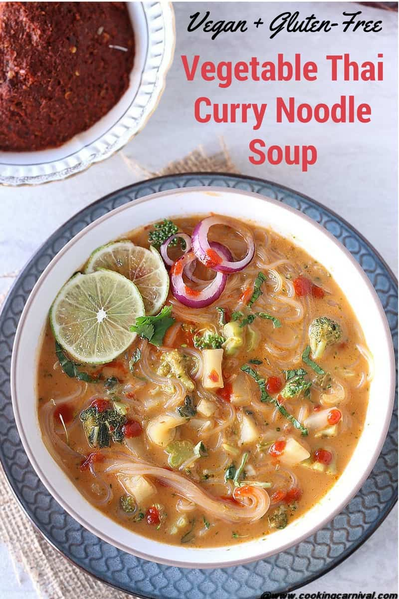 Vegetable Thai Curry Noodle Soup