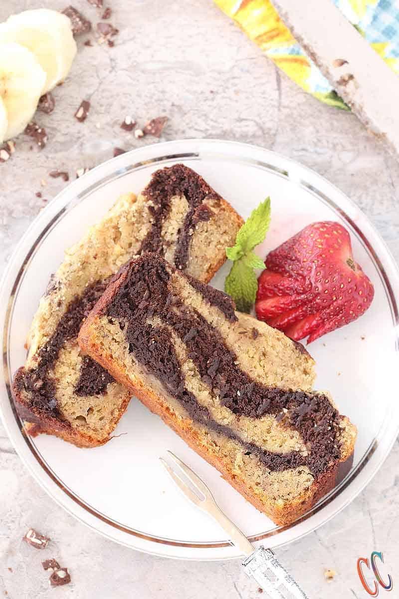 Whole Wheat Banana Chocolate Marbled bread