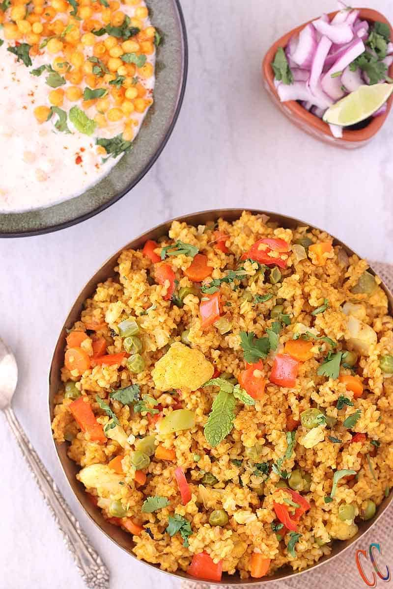 dalia recipe for weight loss / Vegetable cracked wheat Pilaf / Daliya Khichdi