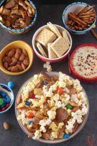 Sweet Salty Popcorn Snack Mix and White Pizza dip