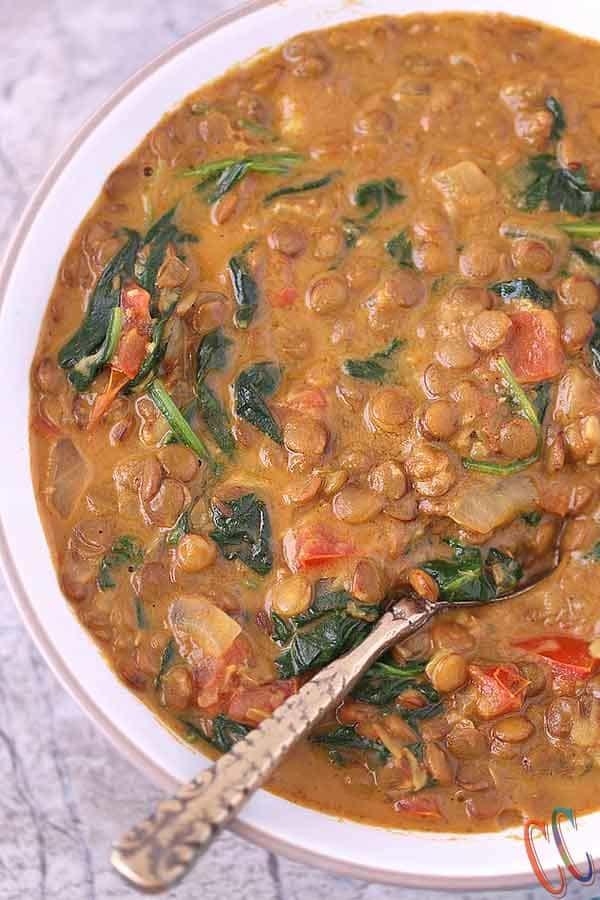 Soup in instant pot, Vegan lentil soup