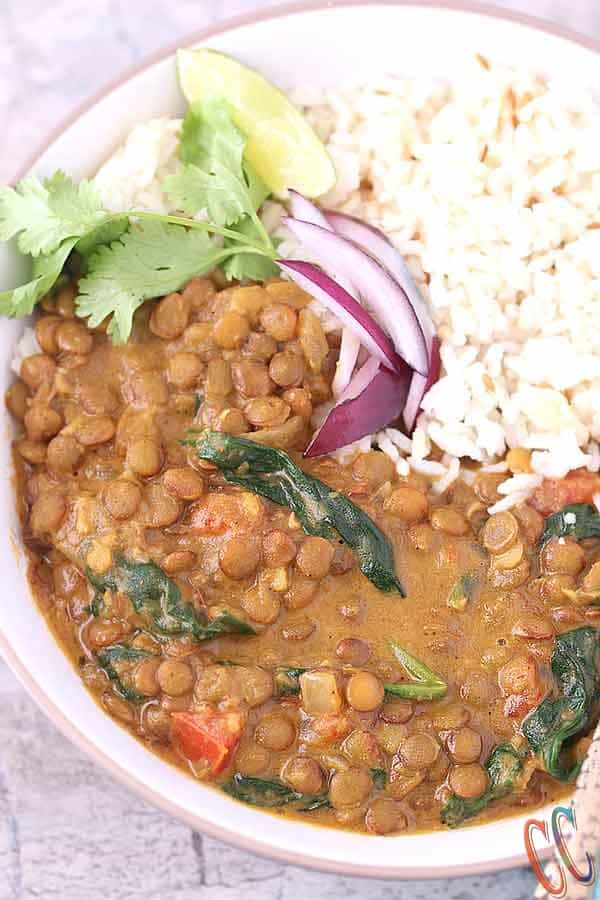 Instant Pot Coconut Spinach Lentil Curry
