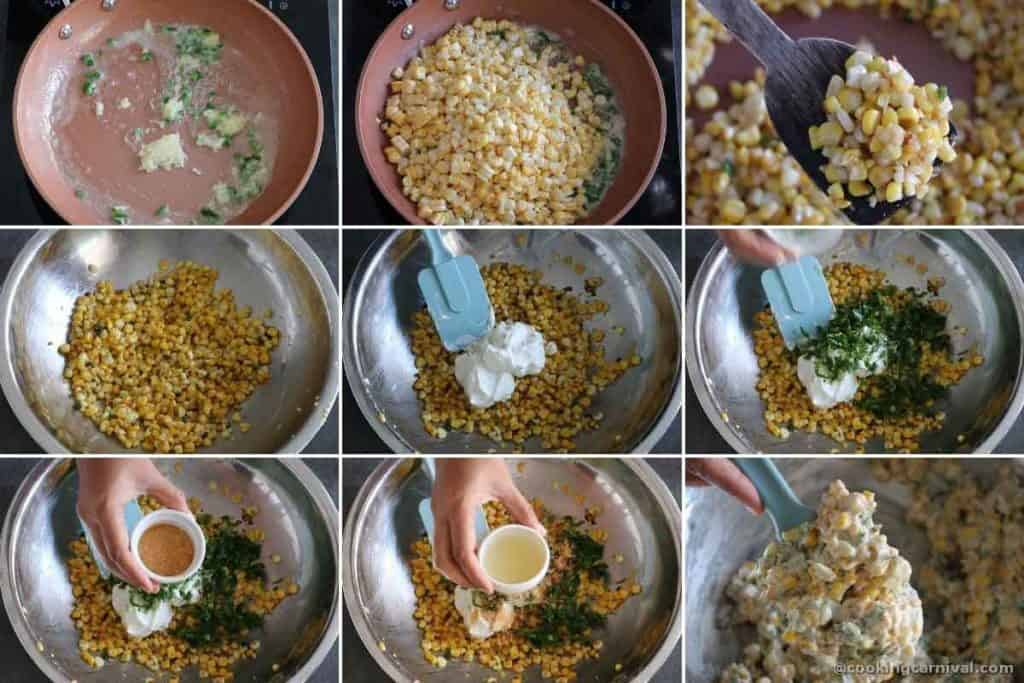 Step by step process of making elote dip