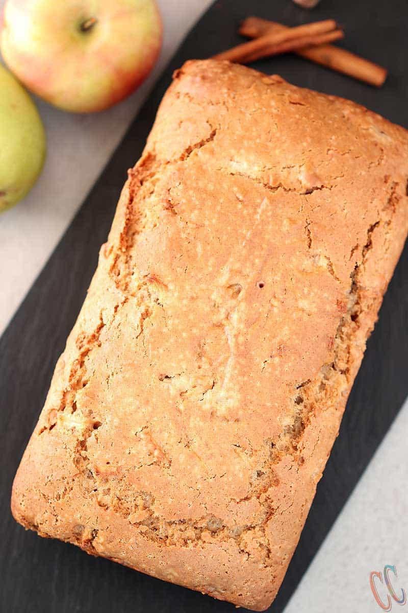 Apple bread, Eggless Apple Pear Cinnamon Bread, pear bread, loaf cake, eggless baking