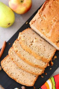 Eggless Apple Pear Cinnamon Bread, apple loaf bread, apple recipes, healthy apple recipes, easy baking, fall recipes, fall baking,