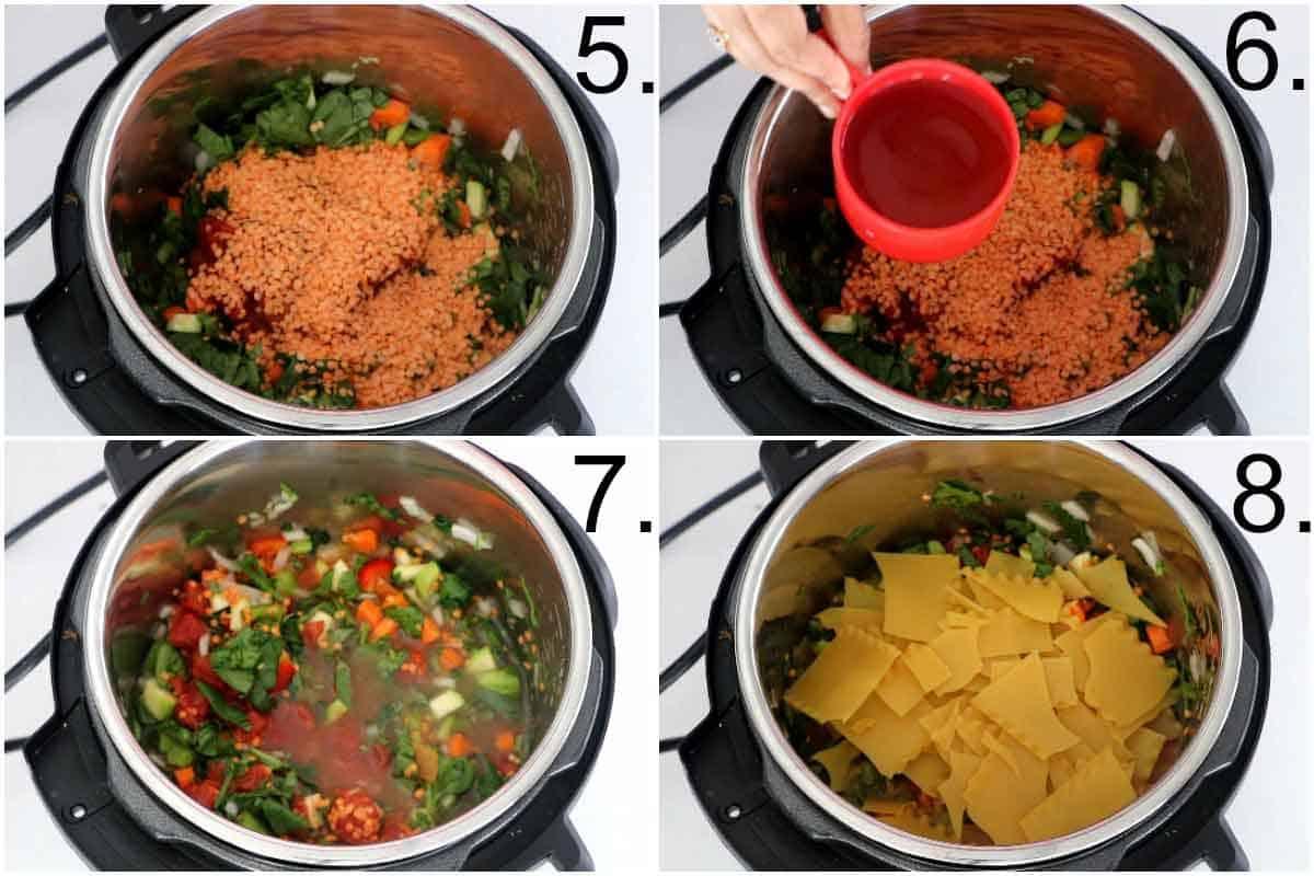 Lentils, vegetable stock, and lasagna sheet brocken into small pieces for instant pot lasagna soup