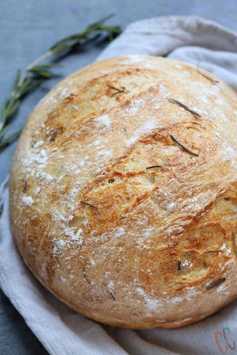 Instant Pot Olive Oil Rosemary No Knead Bread, crusty bread, artisan bread at home