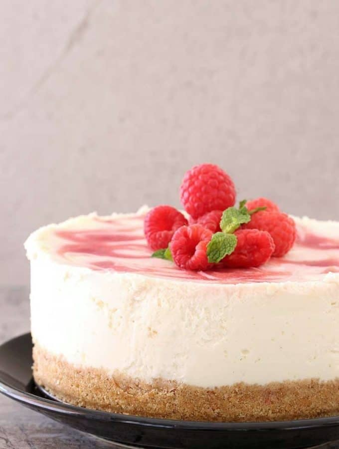 Best eggless cheesecake, Instant Pot Raspberry Swirl Eggless Cheesecake, eggless cheesecake in Instant Pot