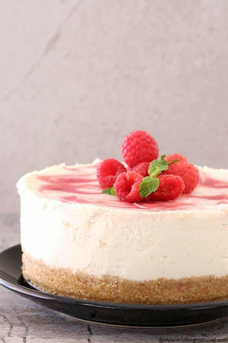 Best eggless cheesecake, Instant Pot Raspberry Swirl Eggless Cheesecake, eggless cheesecake in Instant Pot
