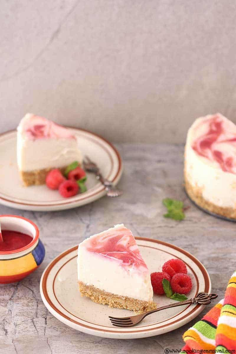 Instant Pot Raspberry Swirl Eggless Cheesecake, Cheesecake with raspberry puree,