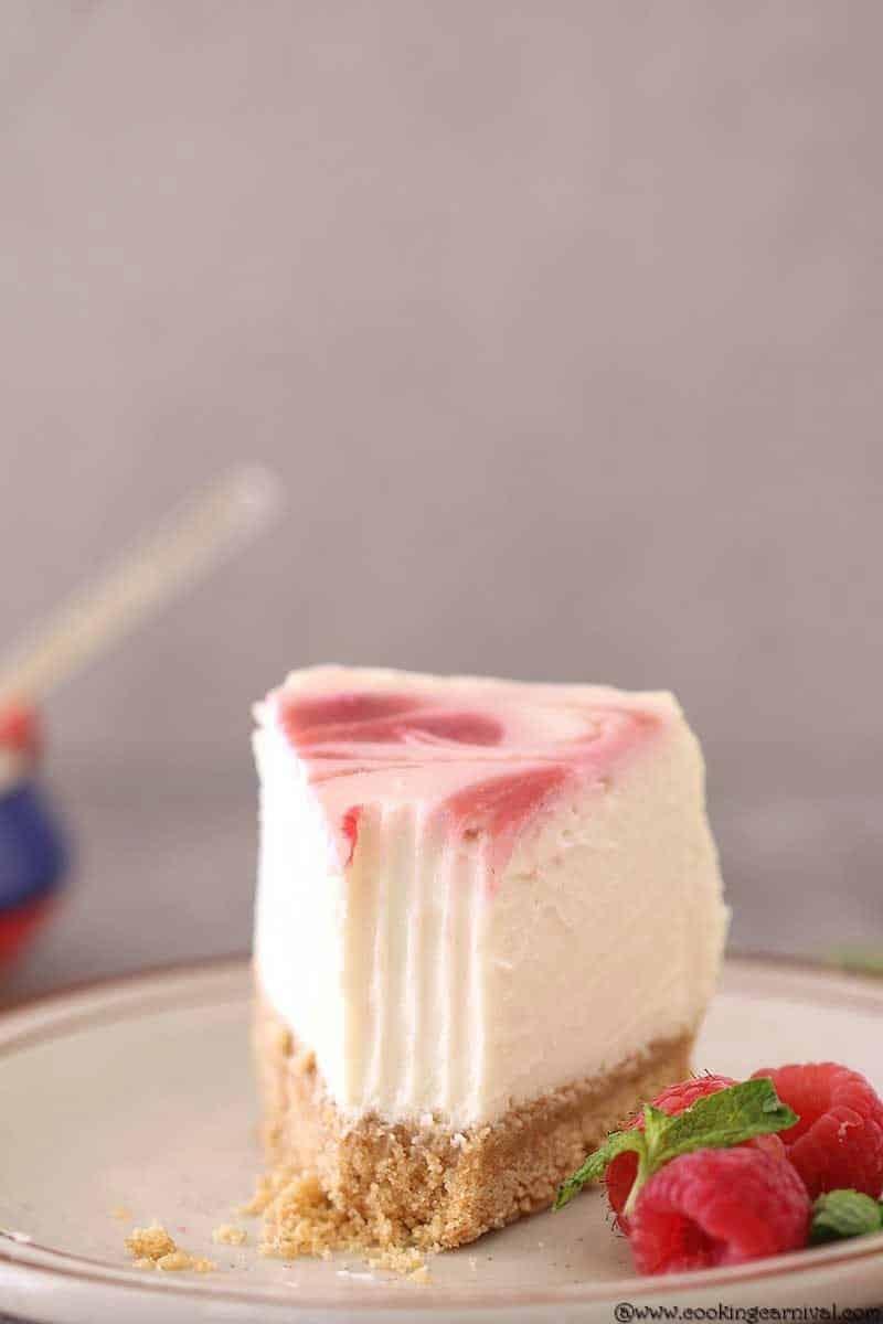 Instant Pot Raspberry Swirl Eggless Cheesecake