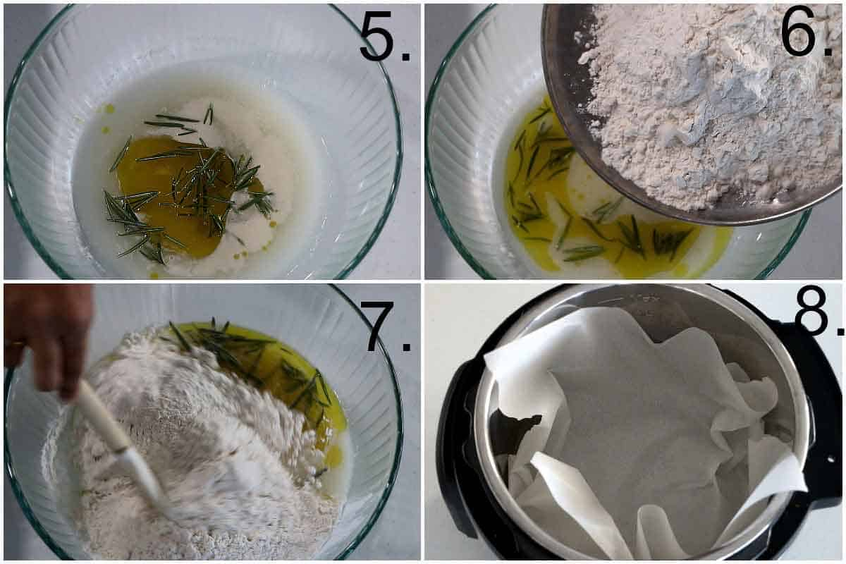 Mixing the Bread flour, rosemary, olive oil, salt in yeast water