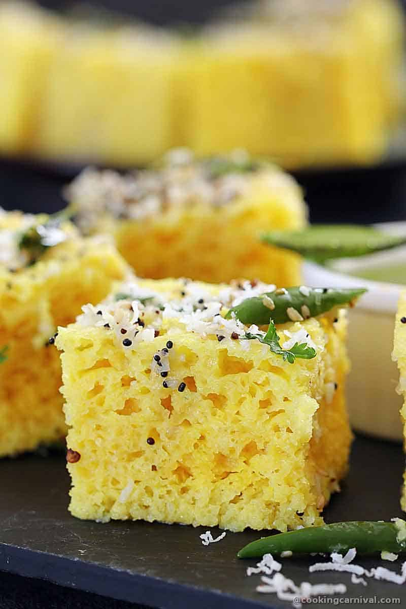 Showing texture of the dhokla