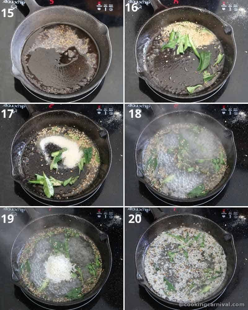 Collage of making dhokla tempering