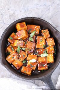 Sweet and spicy crispy tofu