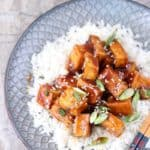 Sweet and spicy crispy tofu