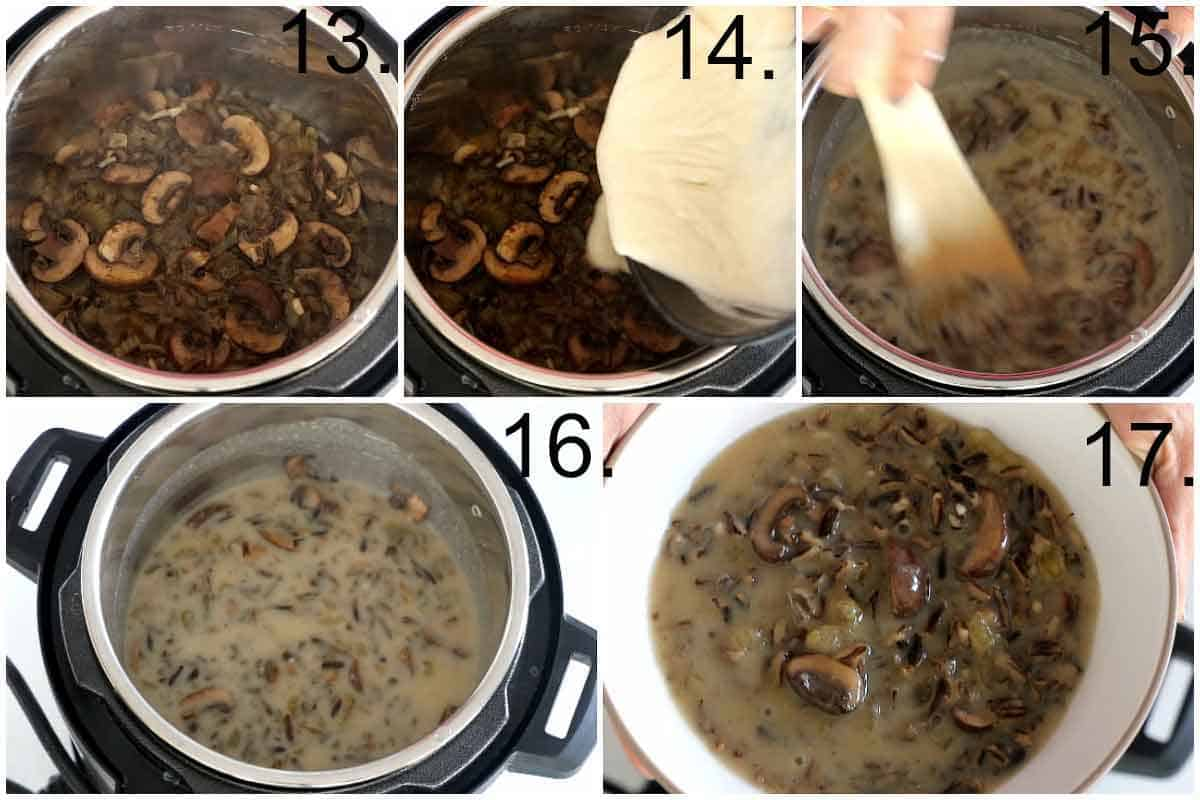 Adding roux in wild rice soup base