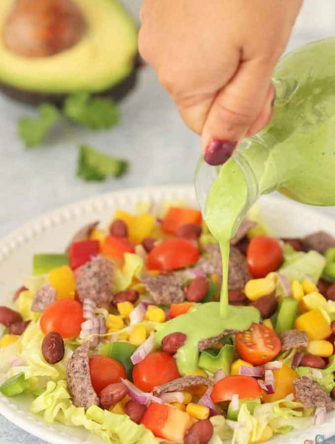 Avocado Dressing Recipe - Luxuriously Silky, Creamy, Delicious, Flavorful, Packed with full of healthy fats and Healthy Alternatives to mayonnaise-based dressing. This healthy salad dressing takes only 5 minutes to make.