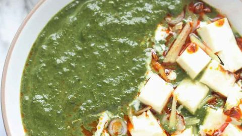 Instant Pot Palak Paneer - Indian Cottage Cheese in Smooth, luscious, Delicious, Creamy Spinach Gravy. Palak Paneer is one of the most loved North Indian Dishes across the world. It is Eaten with Roti, Paratha, Naan, Parotta or Rice. This Vegetarian Indian Instant Pot Recipe is a healthy weeknight dinner recipe that's naturally gluten free, paleo and can easily be made Vegan by using tofu instead of Paneer and Oil instant of Ghee/clarified butter.