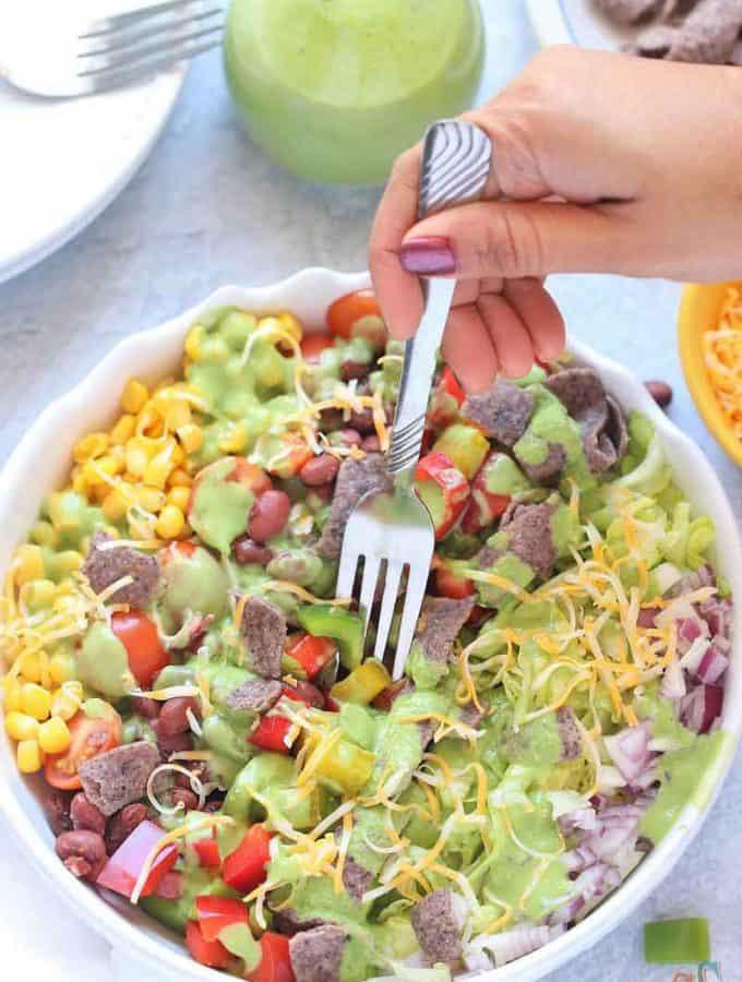 Southwest Salad with avocado dressing