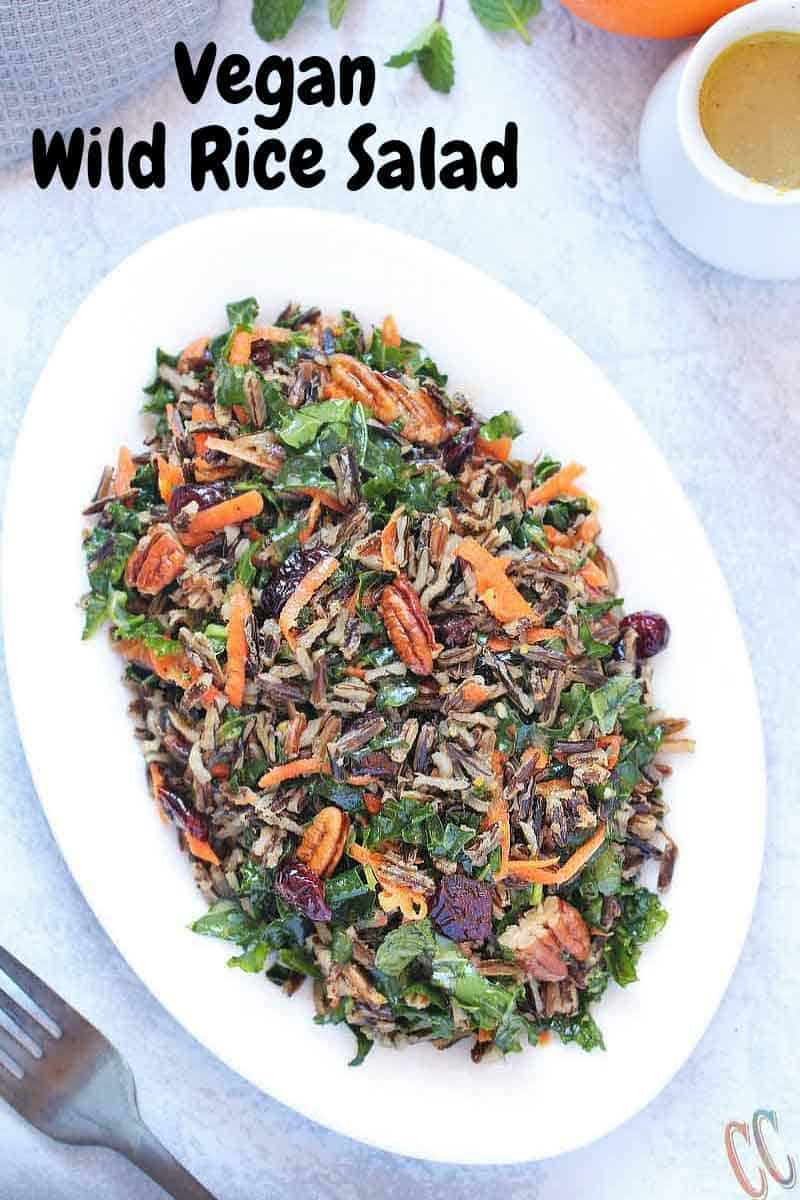 Wild Rice Salad - Scrumptious, Bursting with citrus flavors, Loaded with Vitamin C rich Kale and Vitamin A rich Carrots, lots of Pecans and cranberries for extra crunch and taste, Vegan Salad recipe that can be enjoyed at any time of the year.
