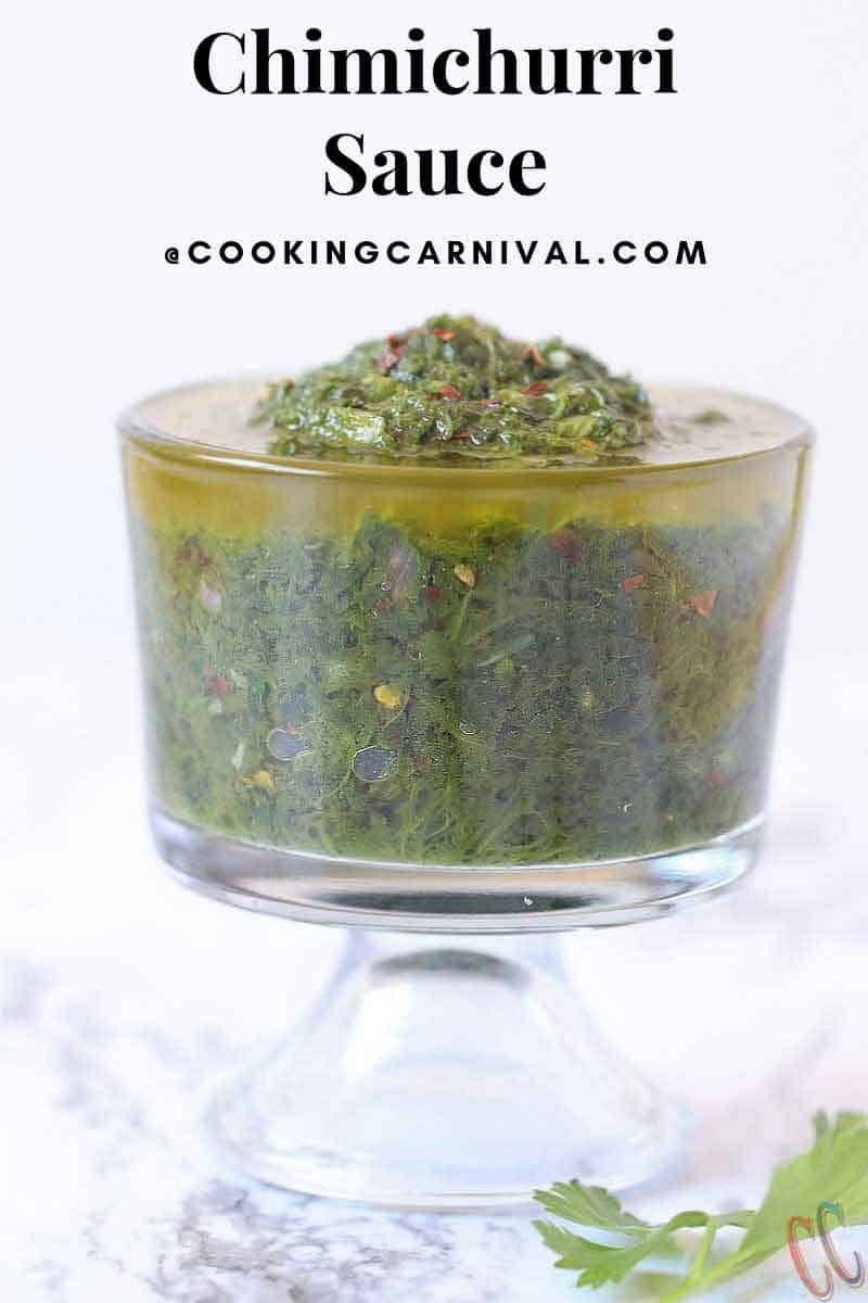Chimichurri Sauce - Traditional sauce recipe from Uruguay and Argentina. This herb based sauce pairs perfectly with grilled steak or any BBQ.