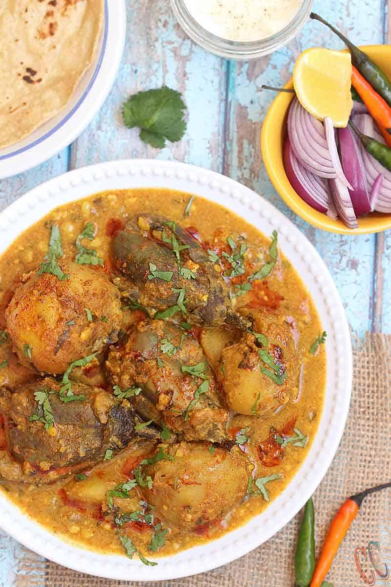 Instant Pot Stuffed eggplant potato curry