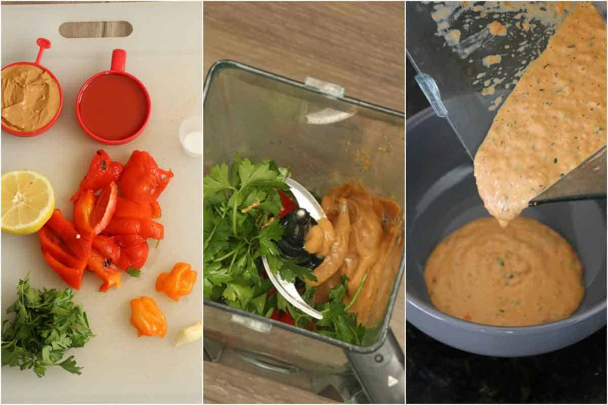 Spicy Roasted Red Pepper Peanut Sauce step by step