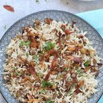 Instant Pot Mujadara (Mujaddara) - A signature Middle Eastern dish made with lentils and rice and garnished with crispy fried onions! It is gluten free, vegan and one of the most comforting one pot meal! It is one of the favorite Vegetarian side dishes and it is protein rich filling meal.