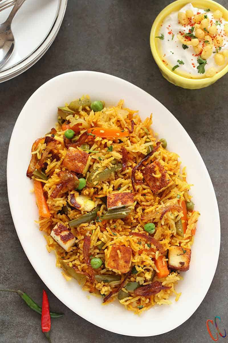 Paneer Pulao - Easy, Simple, Delicious, Aromatic, Gluten-free and perfect Vegetarian Instant Pot rice dish for busy weeknight dinner, for potluck or your kids lunchbox!