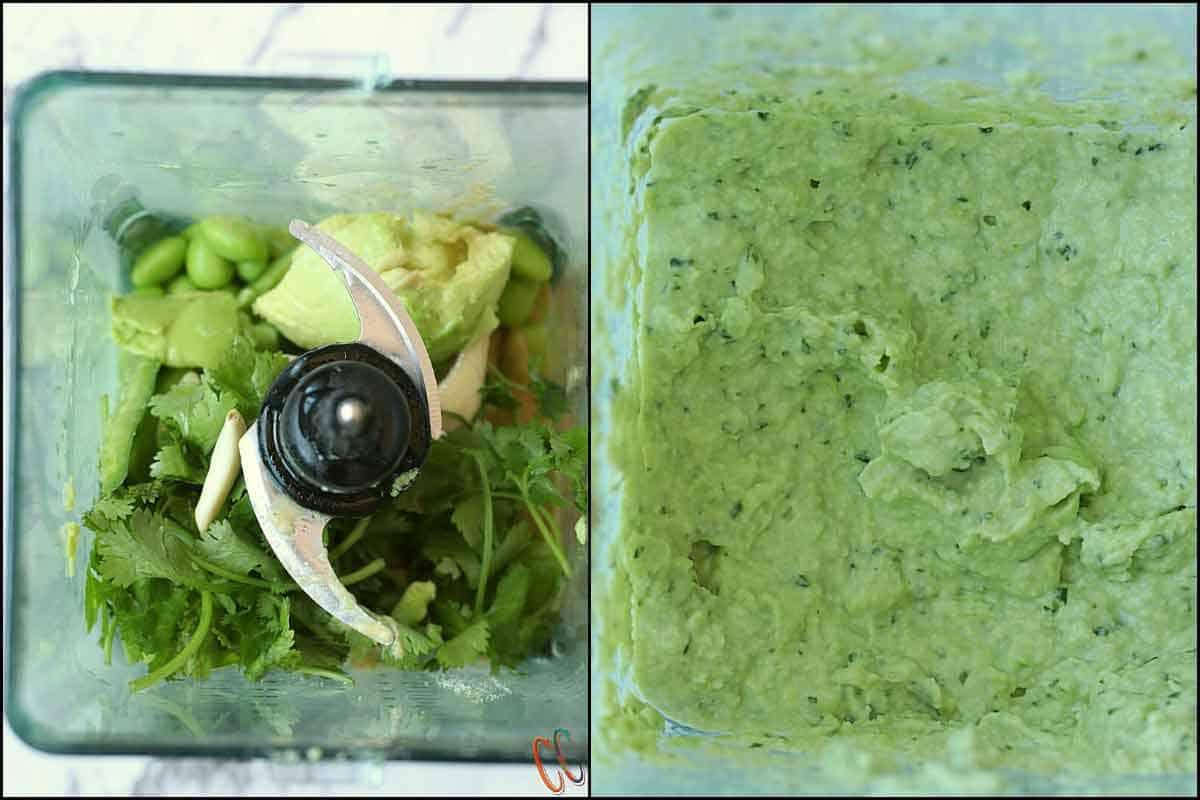 Steps of making avocado edamame hummus