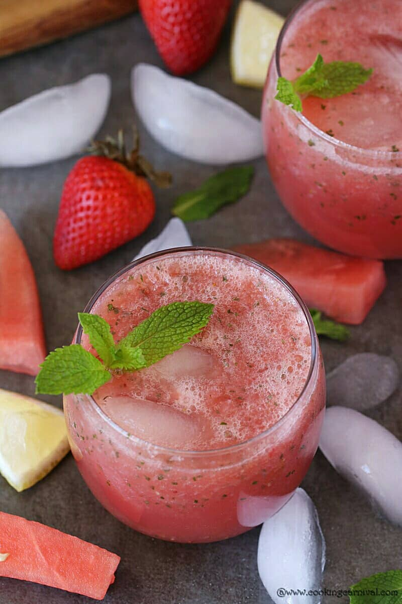 Picture of lemonade with strawberry and watermelon from the top angle.