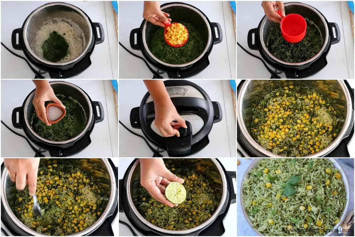 Steps of making Arroz Verde in Instant Pot