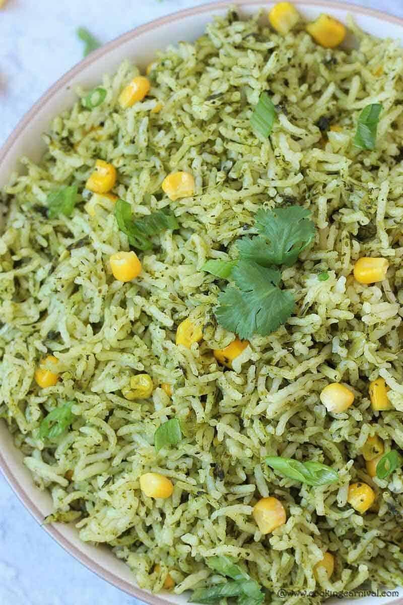 Cilantro rice In a white bowl