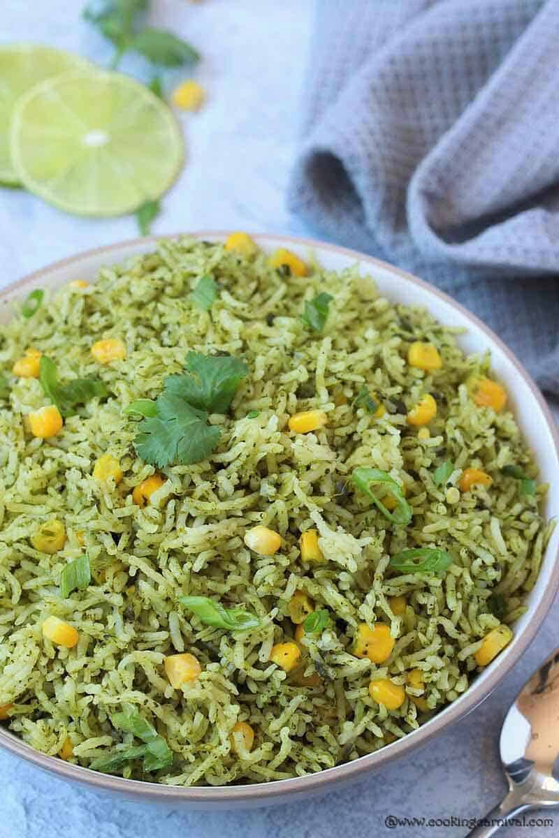 Green Rice in a white bowl