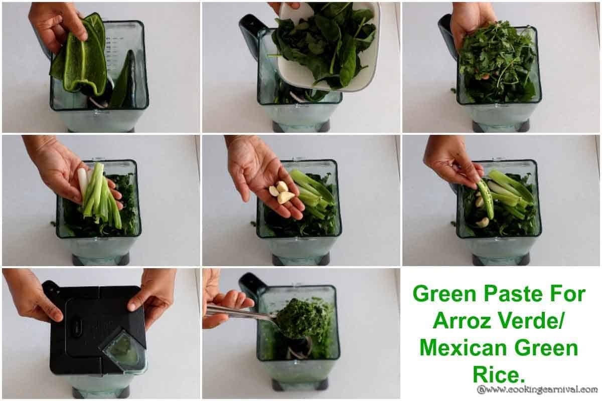 Step by step process of making Green paste from Poblano peppers, garlic, cilantro, spinach and green onions in blender