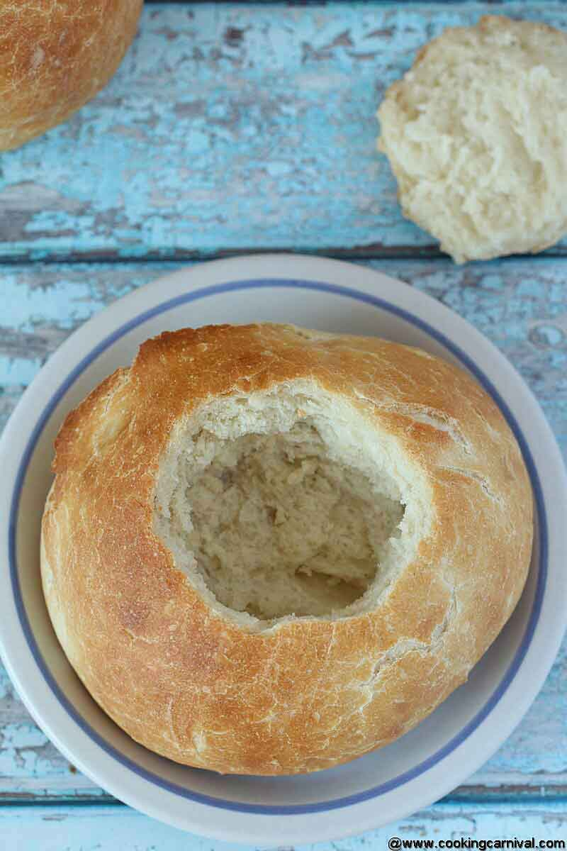 Homemade Bread bowl cut from the top